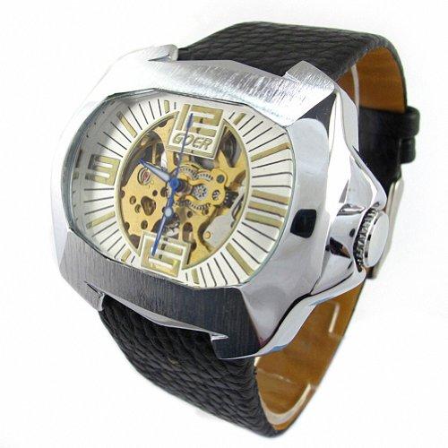 MapofBeauty Herren Synthetische Leder Uhrenarmband Automatik Selbst Wind Rechteckig Mechanische Uhren Schwarz Uhrenarmband Wei Zifferbltter