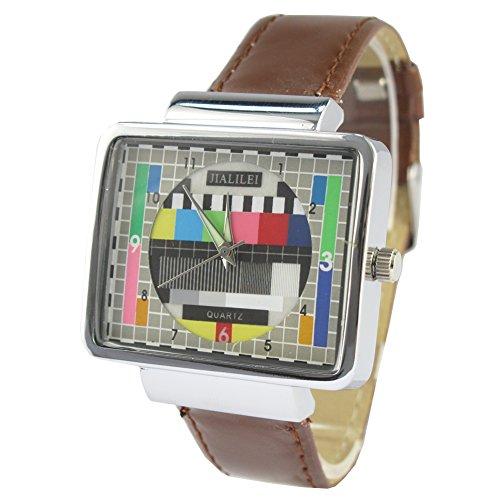 MapofBeauty Unisexs Synthetische Leder Uhrenarmband Analoges Quarzwerk Rechteckig Sonder Design Uhren Braun Uhrenarmband Multi farbige Zifferbltter