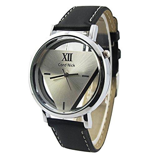 MapofBeauty Unisexs Synthetische Leder Uhrenarmband Analoges Quarzwerk rund Modisch und Stilvoll Uhren Schwarz Uhrenarmband Silber Zifferbltter