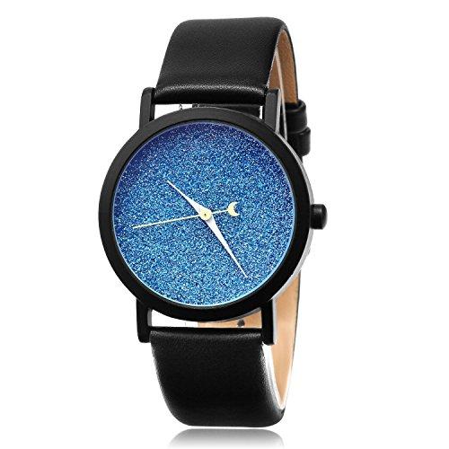 MapofBeauty Damen Synthetische Leder Uhrenarmband Analoges Quarzwerk rund Modisch und Stilvoll Uhren Schwarz Uhrenarmband blau Zifferbltter