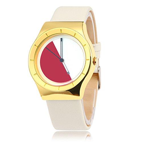 MapofBeauty Unisexs Synthetische Leder Uhrenarmband Analoges Quarzwerk rund Modisch und Stilvoll Uhren Wei Uhrenarmband Wei rot Zifferbltter