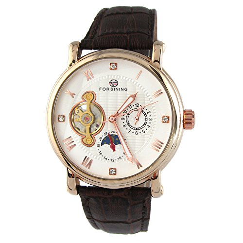 MapofBeauty Fashion Tourbillon Mondphasenanzeige Herren Leder Uhrenarmband mit Sub Zifferblatt 24 Stunde Automatik Mechanische Uhr Braun Uhrenarmband Weiss Zifferblatt Rotgold Skalenumrandung