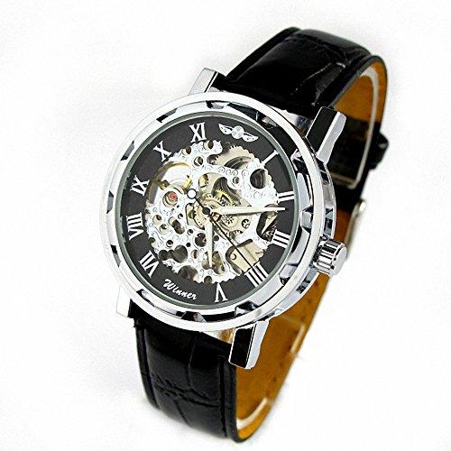 MapofBeauty Schwarz teilweise hohl transparenter Vorwahlknopf Schwarzes PU Leder Band automatische mechanische Armbanduhr