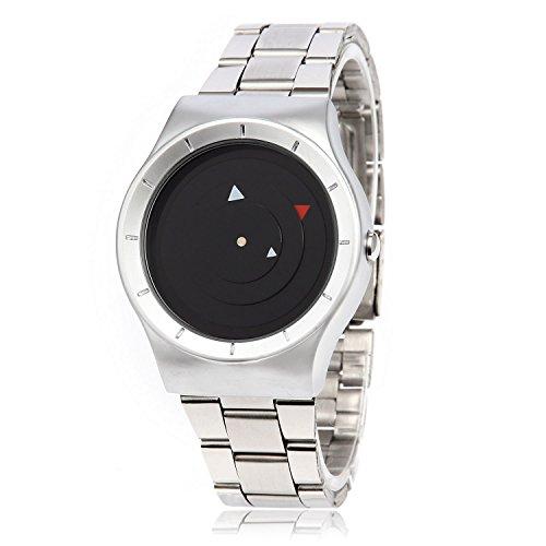 MapofBeauty Unisexs Metall Uhrenarmband Analoges Quarzwerk rund Modisch und Stilvoll Uhren Silber Uhrenarmband Schwarz Zifferbltter