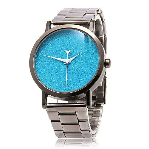 MapofBeauty Damen Metall Uhrenarmband Analoges Quarzwerk rund Modisch und Stilvoll Uhren Gun Farbe Uhrenarmband Azurblau Zifferbltter