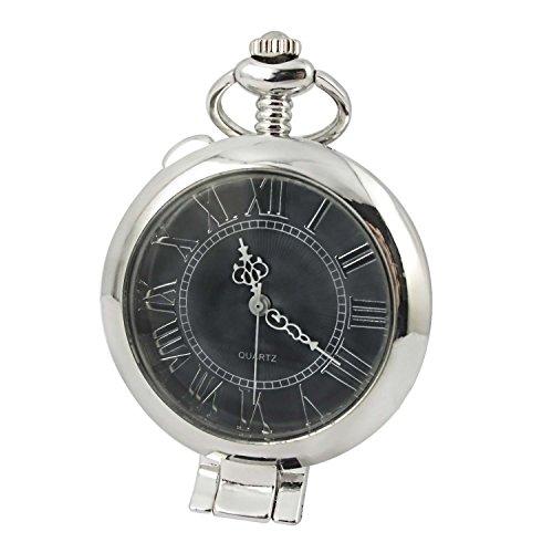 MapofBeauty Unisexs Metall Uhrenarmband Analoges Quarzwerk rund Tasche Uhren Silber Uhrenarmband grau Zifferbltter
