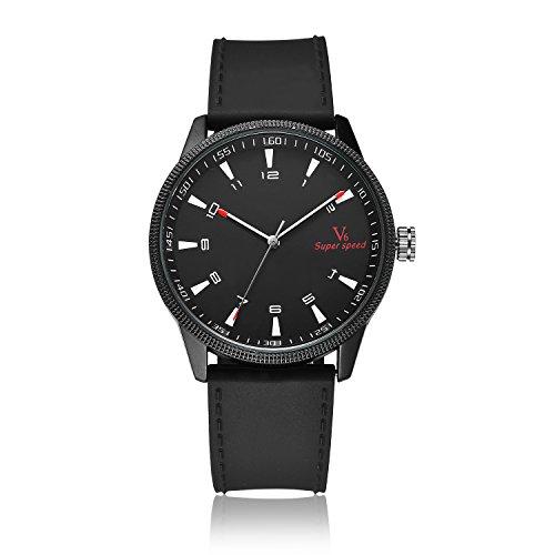MapofBeauty Unisexs PU Uhrenarmband Analoges Quarzwerk rund Modisch und Stilvoll Uhren Schwarz Uhrenarmband Schwarz Zifferbltter