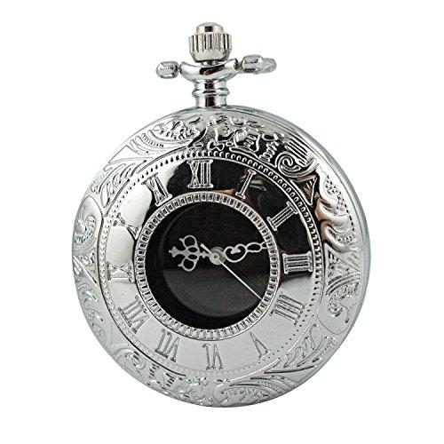 MapofBeauty Unisexs Metall Uhrenarmband Analoges Quarzwerk rund Tasche Uhren Silber Uhrenarmband Schwarz Zifferbltter