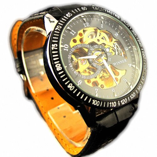 MapofBeauty Herren PU Leder Uhrenarmband Automatik Selbst Wind rund Mechanische Uhren Schwarz Uhrenarmband Schwarz Zifferbltter