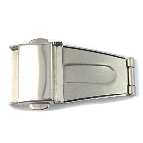 MapofBeauty Silber Uhrenarmband Edelstahl Sicherheitsdruckknopfschliesse Faltschliesse mit Doppelverriegelungen 20 Millimeter