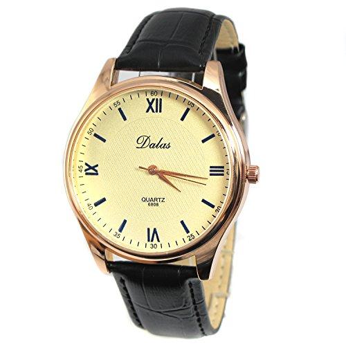 MapofBeauty unisex business dress lederband armbanduhr mode goldene fall quarz uhr schwarz