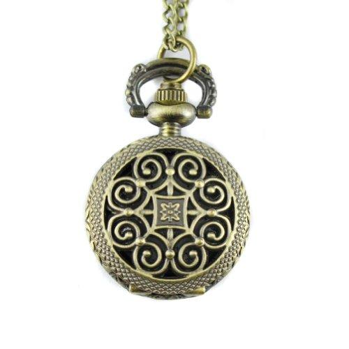 MapofBeauty Weinlese Bronzelegierungen schnitzen Muster Mode Quarz Taschenuhr
