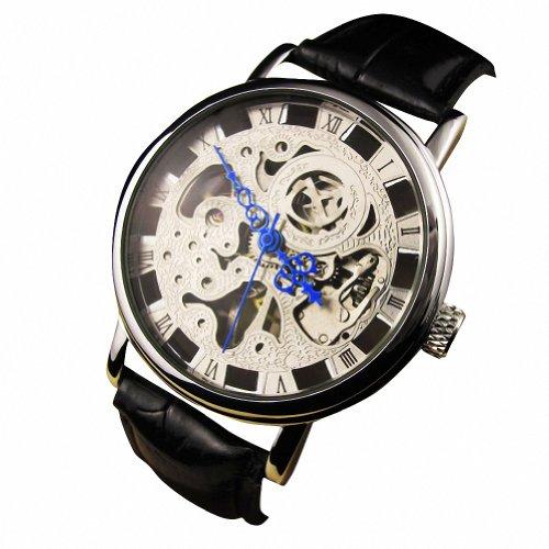 Teilweise Ausgehoehlt Transparente Zifferblatt PU Leder Uhrenarmbands Manuelle Mechanik Wrist Uhr