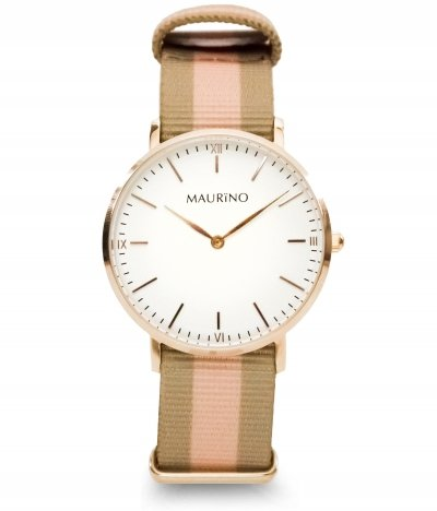 MAURINO Analog Quarz Textil Rose Gold 36mm M01634