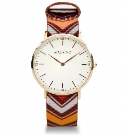 MAURINO Analog Quarz Textil Rose Gold 36mm M01636