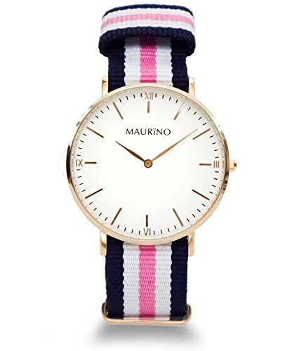 MAURINO Analog Quarz Textil Rose Gold 40mm M01640
