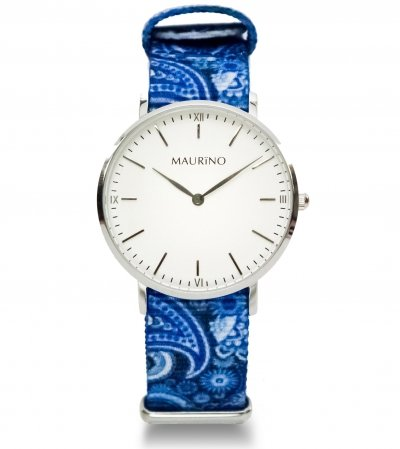 MAURINO Analog Quarz Textil Silber 36mm M01629