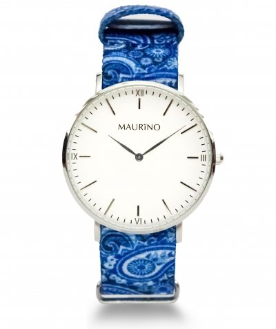 MAURINO Analog Quarz Textil Silber 40mm M01612