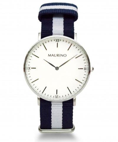 MAURINO Analog Quarz Textil Silber 40mm M0166