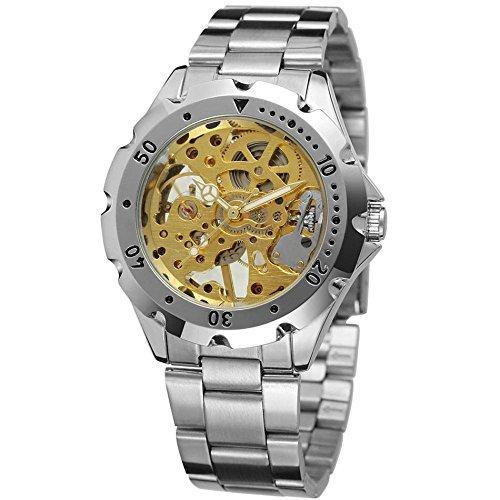 Gute Herren Stahl Armband Fall Hand Wind Mechanische goldfarbene Zifferblatt Armbanduhr