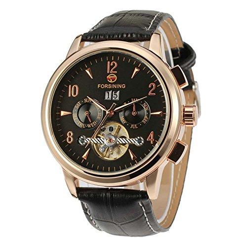 Gute ausgesetzt Balance Rad Herren Automatische mechanische Armbanduhr mit Rose Gold Fall Schwarz Zifferblatt Analog Anzeige und schwarz Lederband