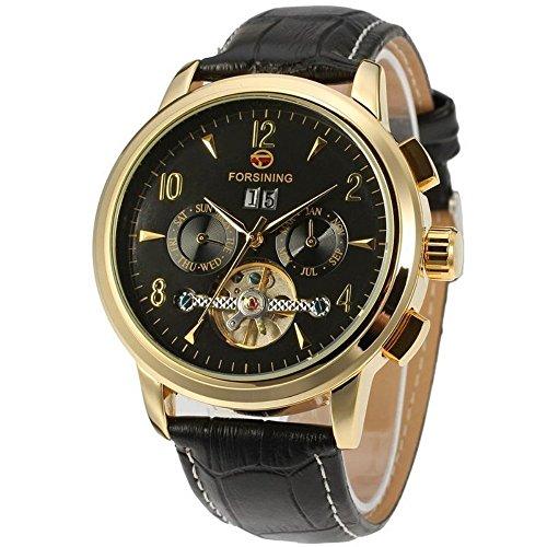 Gute ausgesetzt Balance Rad Herren Automatische mechanische Armbanduhr mit Gold Fall Schwarz Zifferblatt Analog Anzeige und schwarz Lederband