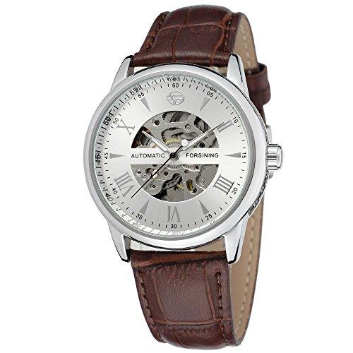 Gute Herren Elegant Automatik Mechanische Armbanduhr mit roemischen numberal Zifferblatt und braun Lederband Silber Weiss