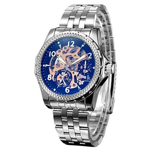 Gute Fashion Skelett Herren Automatik mechanische Armbanduhr Stahl Golden MOV Schwarz Zifferblatt Luminous
