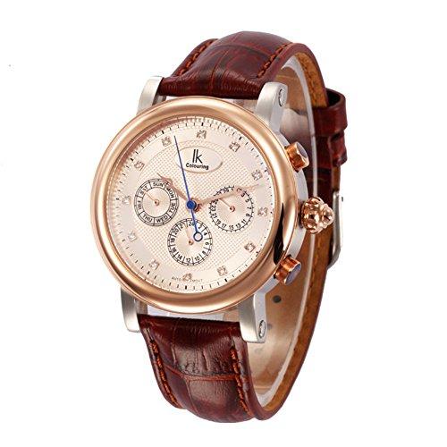 Gute Luxus Herren Rose Gold automatische mechanische Armbanduhr Dunkelbraun Lederband