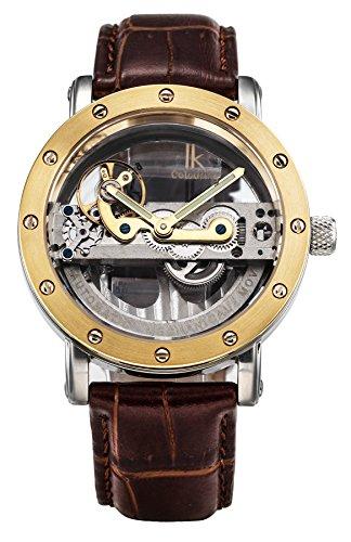Gute Luxus Steampunk Bling Automatische Mechanische Armbanduhr Minimalist Gold Ton Luenette dunkelbraun PU