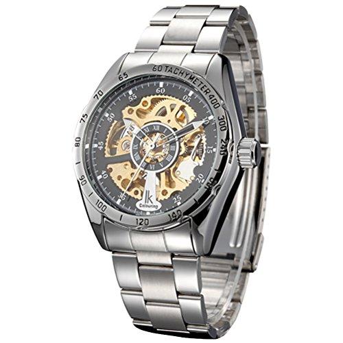 Gute IK Kleid Herren Skelett Golden MOV Automatische Mechanische Armbanduhr thahymeter roemischen