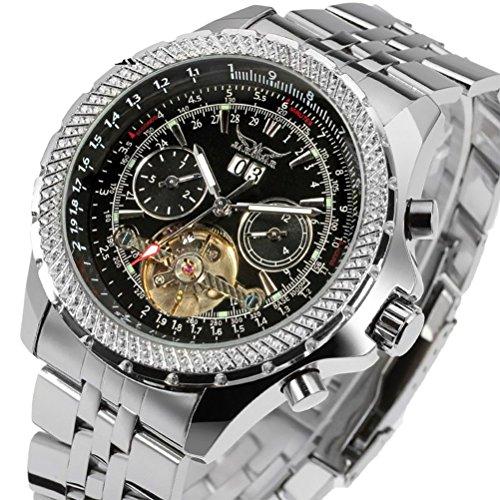 Gute Elegantes Pro Herren Automatische mechanische Armbanduhr Decor Tourbillon Luminous Tachymeter schwarz