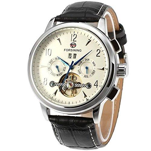 Gute Herren Automatische mechanische Armbanduhr mit Silber Fall Weiss Zifferblatt Analog Anzeige und schwarz Lederband