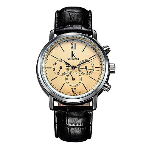 Gute Kleid Herren 6hands Automatische Mechanische Armbanduhr beige Zifferblatt Lederband