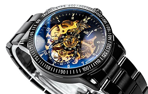 Casual Herren Schwarz Stahl Skelett Automatische Mechanische beschichtet Glas Armbanduhr Golden Zifferblatt