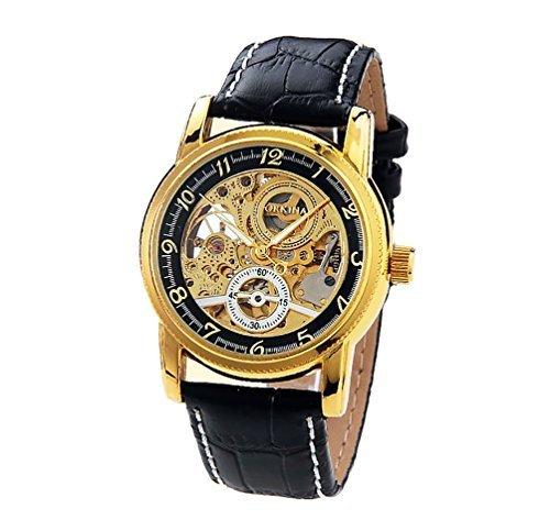 Gute Kleid Style Unisex automatische mechanische Uhr Skelett goldfarbene Armbanduhr ORKINA