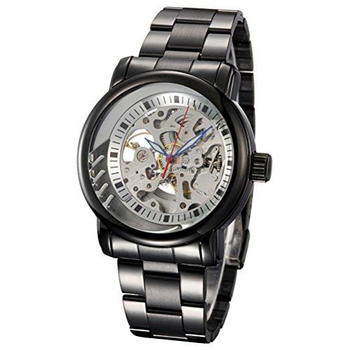Gute IK Einzigartige Herren Schwarz Stahl automatische mechanische Armbanduhr Skelett Silber Zifferblatt