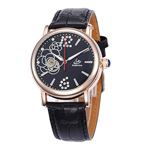 Gute Elegante Damen Automatik Mechanische Armbanduhr Skelett Diamant Blume Fashion Schwarz