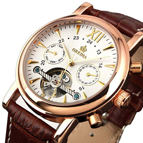 Gute Elegante Rose Gold automatische mechanische Armbanduhr Braun Strap Decor Balance Rad