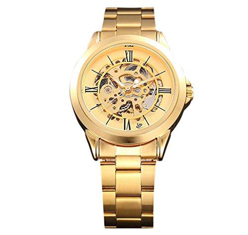 Gute Elegante Herren Golden Automatische Mechanische Armbanduhr Hip Hop Stil Luminous roemischen