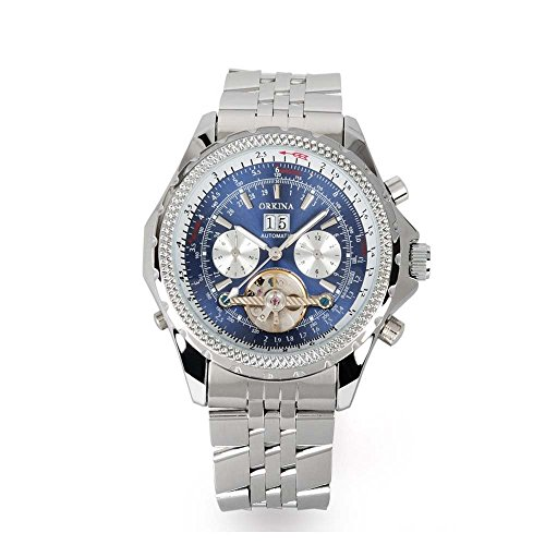 Gute Elegante Herren Stahl automatische mechanische Armbanduhr Blau Zifferblatt Luminous