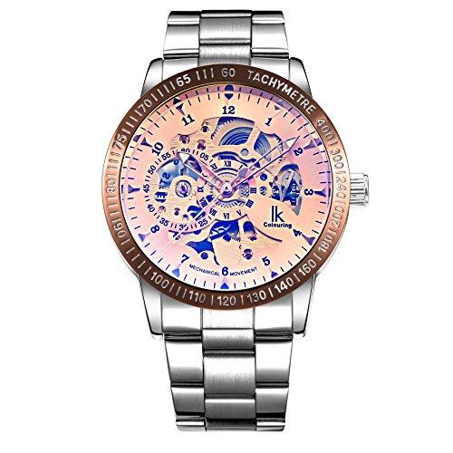 Gute IK Farbgebung Herren Luxus Skelett Rosa Auto Mechanische Armbanduhr Alle Stahl