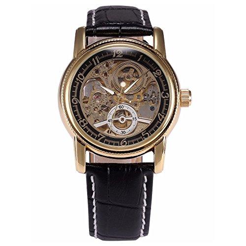 Gute Kleid Golden Schwarz Skelett Unisex Automatik Uhr Schwarz Lederband