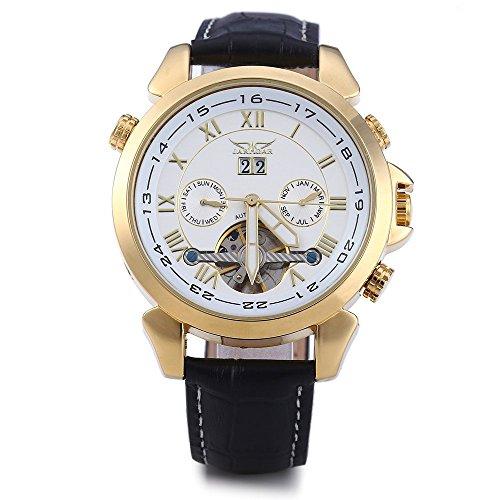 GuTe Herren Auto Mechanisch Armbanduhr Weiss Gold Zifferblatt Datum Monat