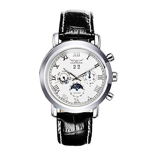 GuTe Damen Herren Unisex Klassisch Automatische Mechanische Armbanduhr Mondphase Weiss