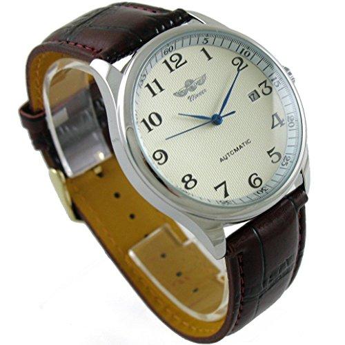 GuTe Mechanical Winner Mechanisches Aufziehuhrwerk weisses Zifferblatt blaue Zeiger Armband aus PU Lederimitat