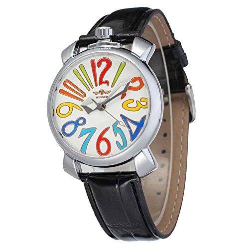 Gute Pretty Cute Maedchen Frauen automatische mechanische Armbanduhr mit Lederband Silber Weiss