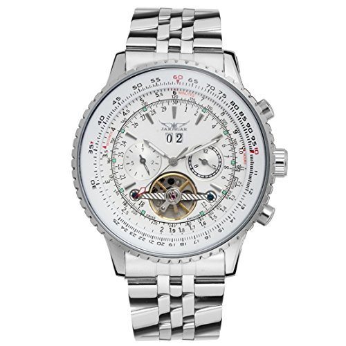Gute Maenner s Big Stahl Armband und Fall Automatische watch white