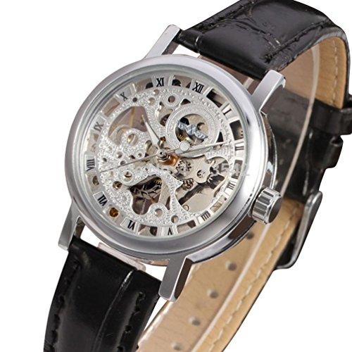 Gute Damen Mechanische Armbanduhr Skelett Steampunk Silber Zifferblatt Handaufzugwerk