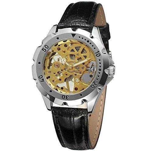 Gute Herren Damen Unisex Stahl Fall Hand Wind Mechanische Necklaces Halskette Skelett Zifferblatt Armbanduhr mit Lederband